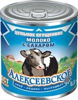 """Молоко цельное сгущ с сах 8,5% """"Алексеевское"""" 370гр., банка 7 Е (С КРЫШКОЙ)"""